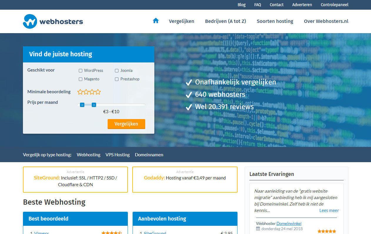 Webhosters.nl homepage desktop