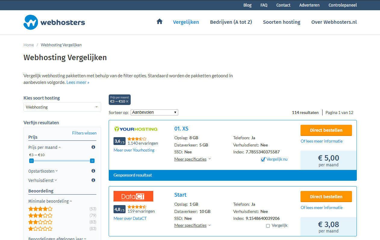 Webhosters.nl vergelijking desktop