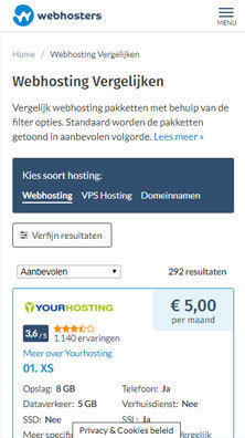 Webhosters.nl vergelijken mobile