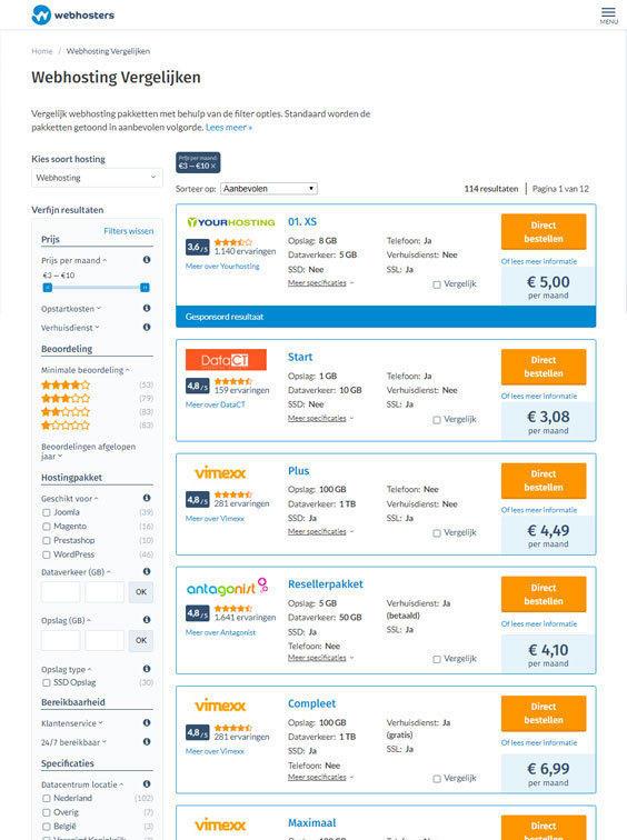 Webhosters.nl vergelijken tablet