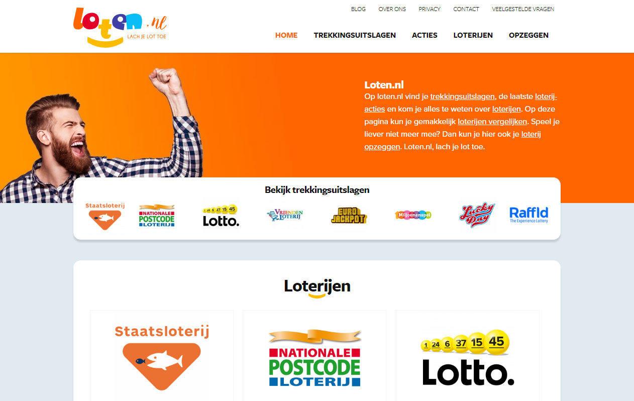 Loten.nl homepage desktop