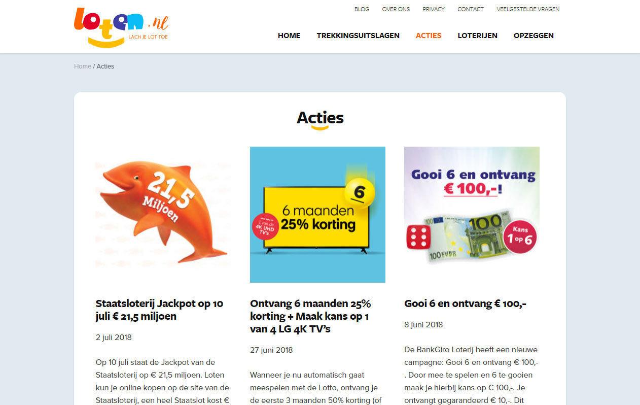 Loten.nl acties desktop