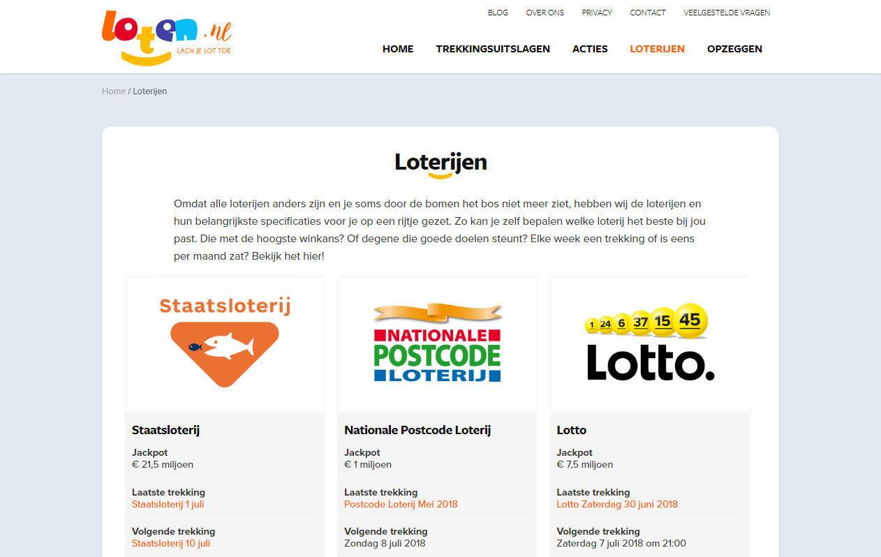 Loten.nl loterijen desktop