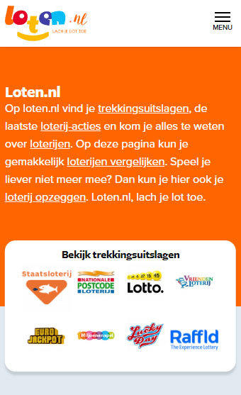 Loten.nl homepage mobile