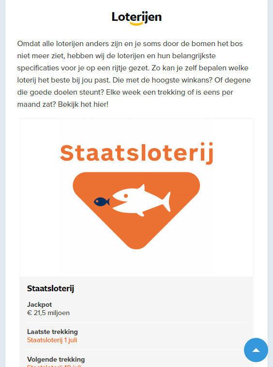 Loten.nl loterijen tablet