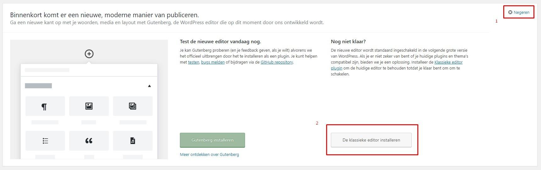 Opties voor Gutenberg melding | New Fountain