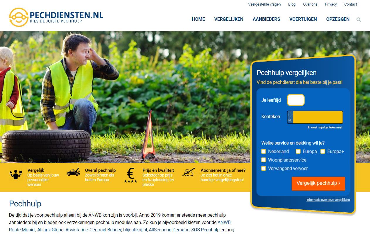 pechdiensten homepage desktop