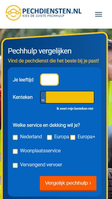 pechdiensten homepage mobiel