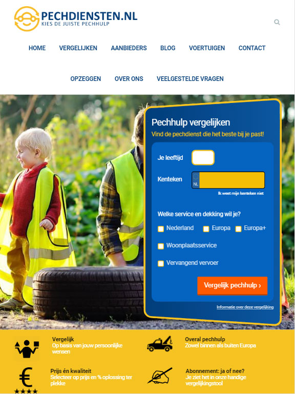 pechdiensten homepage tablet