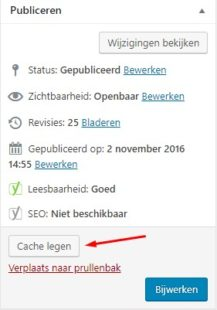 Pagina cache legen in WP Rocket