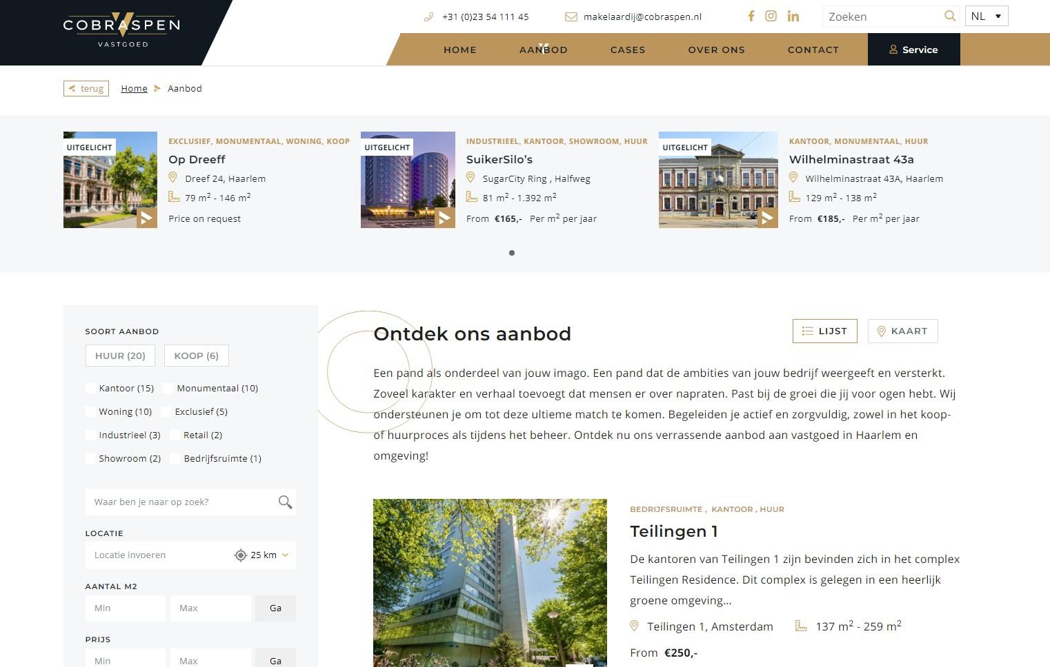 Aanbodpagina Cobraspenvastgoed.nl